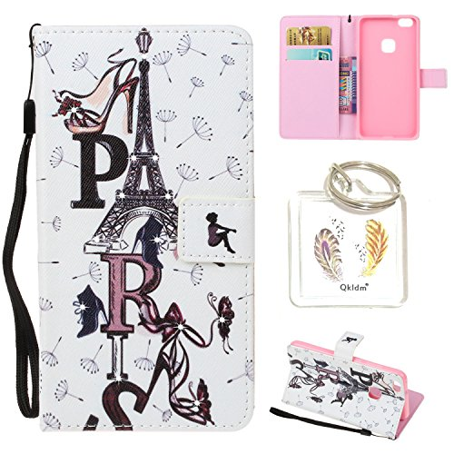 Preisvergleich Produktbild HUAWEI P10 Lite PU Leder Silikon Schutzhülle Diamant Handy case Book Style Portemonnaie Design für HUAWEI P10 Lite + Schlüsselanhänger (IUY (1)