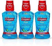 Colgate Plax Antibacterial Mouthwash, 24/7 Fresh Breath - 3 x 250 ml (Pepper Mint)