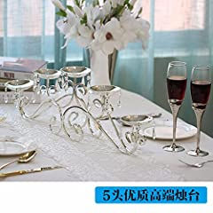Idea Regalo - 3 Testa Testa Brillante Silver Crystal Candelabro Tabella 5 Decorazione Modello Stanza Matrimonio Decorazione Candela Di Taiwan Cinque Teste (Escluse Le Candele) Candelieri Candele e portacandele