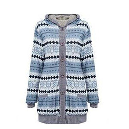 Damen Causual Pullover print Langarm-Cardigan Lässige Strickmantel Strick Loose Strickjacke Kimono Outwear Hoody (L, Grün) (Pullover Blend Angora)