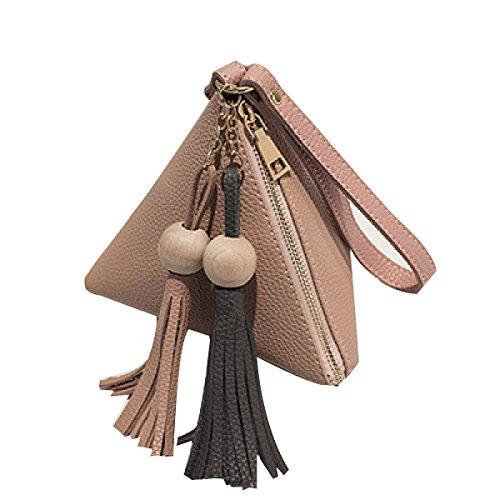 Mini Tassel Hand Persönlichkeit Wallet Dreieck Knödel Tasche,Black Pink