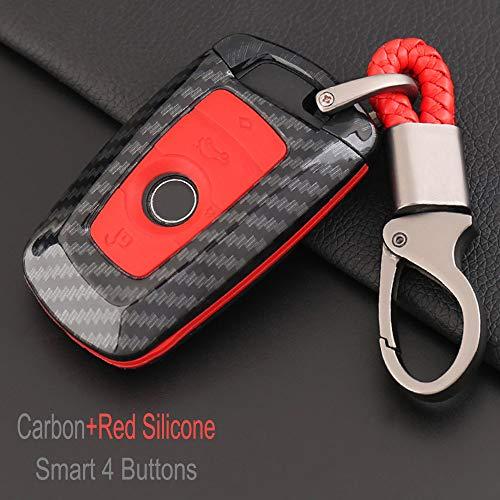 SUNQQB Auto Protect Schlüssel Shell Set für BMW 1 3 5 7 Serie F10 F20 F30 335 328 535 650 525li X6 X3 X4 X1 M1 ABS + Silikon Schlüssel Cover Case,Carbon,Red Silicone