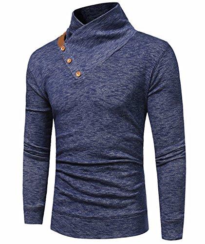 Idol Herren Langarm T-Shirt Lässige Kragen Pullover Rollkragenshirts Tops (Klobige Pullover Gerippte)