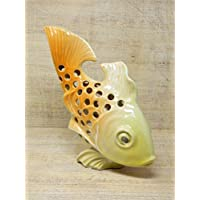 Handgefertigter Teelicht-Leuchterfisch aus Keramik, Airbrushdesign, H/L: 24cm, frostsicher