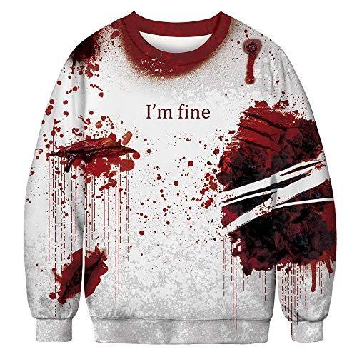 TWBB Damen Pullover Herbst Christmas 3D Drucken Rundhals Sweater Sweatshirt Winter Lange Ärmel Top Bluse Oberteile