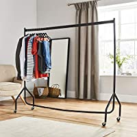 Extra Heavy Duty 6ft Long x 5ft Tall Clothes Rail In Black (Next day delivery available)
