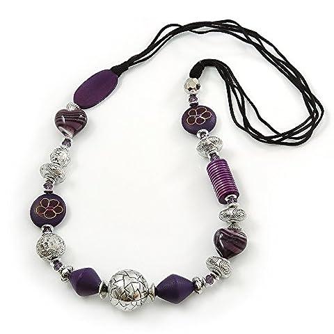Longue Pampille pépite bois violet argent et collier perle acrylique Cordon de daim Noir 100 cm