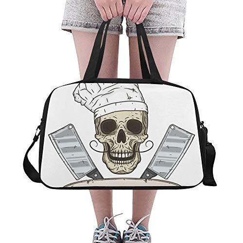 Reopx Cartoon schädel Toque Messer große Yoga Gym Totes Fitness handtaschen reisetaschen Schultergurt Schuh Tasche für übung Sport gepäck für mädchen männer Frauen im freien -