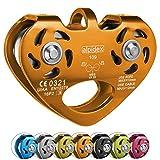 ALPIDEX Seilrolle Tandem Pulley Umlenkrolle Doppelseilrolle - geeignet für Stahlseile 8-12 mm Ø und Textilseile bis 13 mm Ø, Farbe:orange