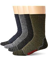 Wigwam Unisex-Adults Merino Lite Hiker Midweight Crew Socks 4-Pack, Assortment, Sock Size:10-13/Shoe Size: 6-12