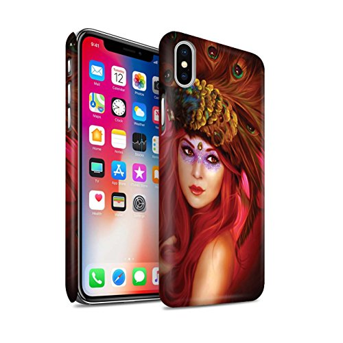 Offiziell Elena Dudina Hülle / Matte Snap-On Case für Apple iPhone X/10 / Habicht Wächter/Schwert Muster / Die Vögel Kollektion Schöne Pfau