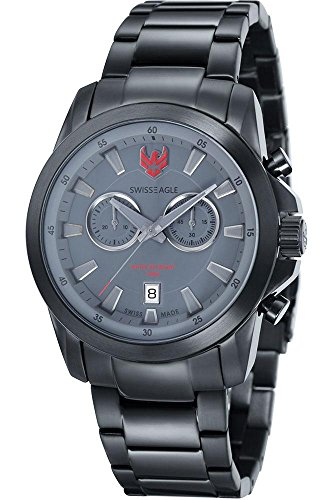 Swiss Eagle – se-9055-88 Zermatt – Watch Men – Quartz – Chronograph – Black Dial Black Plated Steel Bracelet