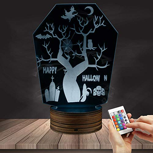 (ZCLD Holloween Nacht Dekor 3D Handarbeit Acryl LED Rand Leuchtet Zeichen Horror USB Schreibtischlampe Neuheit Licht Kinder)