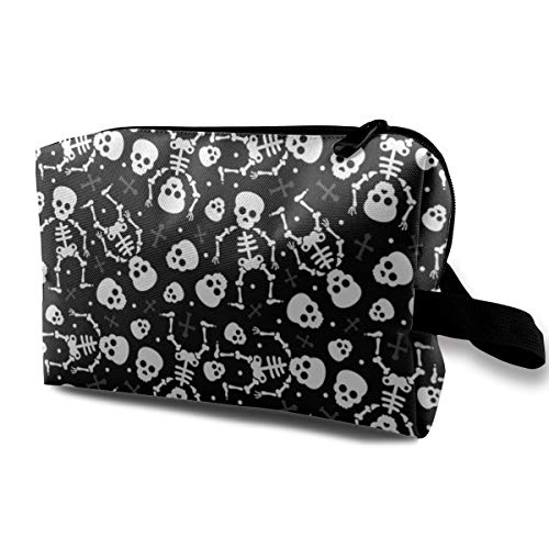 Makeup Bag Portable Travel Cosmetic Bag Cool Skulls Halloween Skeleton and Mexican Dia De Muerte Kids Print Black and White Mini Makeup Pouch for Women Girls