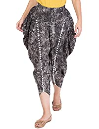 Dhoti Pants In Black For Women - Black Printed Dhoti Pants In Harem Style For Ladies - Pom Pom Lace Dhoti Pants...