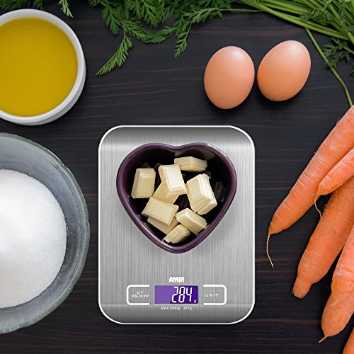 AMIR Digital Food Scale, (5000g, 0.1oz/ 1g) Amir Kitchen Scale, Electronic Cooking Food Scale with LCD Display, Stainless Steel, Accurate Gram and Slim Design, 2 batteries (included) [Energy Class A+]