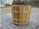 Holzblumenkübel,Blumenkübel Akazie 50x40 cm (DxH) beste Qualität aus Ungarn,Daubenstärke 2,2 cm,mit 2 Tragegriffen,galvanisierte Ringe absolut rostfrei,massiv,windhart,extrem langlebig,Neuware !
