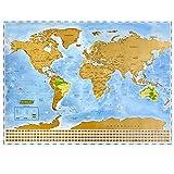 NIMAXI Weltkarte zum Rubbeln, Größe 83x60 cm, Farbe: Blau, XXL Poster Rubbelkarte mit Fahnen zum freirubbeln