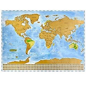NIMAXI Mapa mundial para rascar, tamaño 83×60 cm, color: azul, alto brillo, Carta del mundo XXL con banderas para rascar gratis