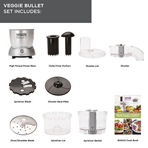 NutriBullet Veggie Bullet Electric Spiralizer/Shredder and Slicer, 500 W, Silver