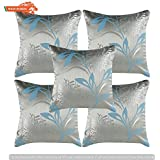 GOLDENIZE™FIROZI2 SET OF 5 TROW CUSHION PILLOW COVER DECROATIVE POLYSTER SILK SQUARE CUSHION COVER OUTDOOR COUCH SOFA HOME PILLOW COVER 12X12INCH (30CMX30CM) MADE IN INDIA.PRODUCT ID:P1_12X12