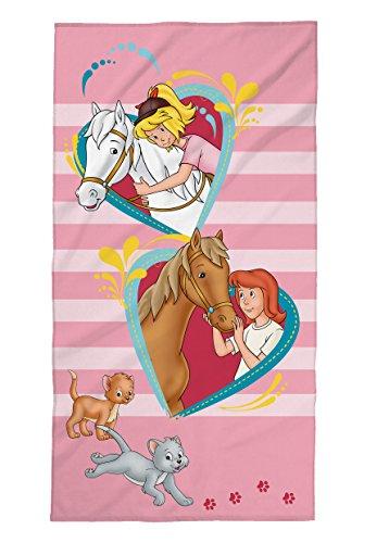 Tex idea Bibi und Tina Strandtuch mit Pferde, Herzen, Mädchen, Badetuch Schwimmbadtuch 75x150 cm, 100{8d9aaf3f9a4b09d1312f82a5179707618d7f5eb34c73f9071c22d717b1868599} Baumwolle Velours, Rosa,