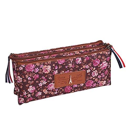 fablcrew Federmäppchen Speicherung Kreative Blumenmuster Zipper Federmappe Rucksack Kosmetik für die Studenten 6*7*20cm C