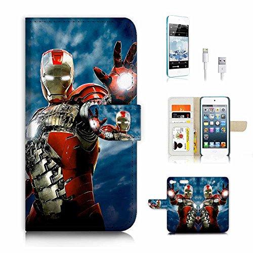 (für iPod Touch 6, iTouch 6) Flip Wallet Schutzhülle & Displayschutzfolie Bundle. A4229Ironman Superhero Itouch Ipod Touch