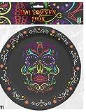 6 piattini in cartone scheletro colorato Halloween 17 cm Taglia Unica