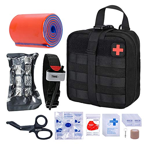 BUSIO First aid Trauma kit Tactical Bag, EMT Scissors, Tourniquet, Rail, cohesive Bandage, Israeli Bandage, Rescue Blanket Mylar, CPR mask, Survival Pipe -