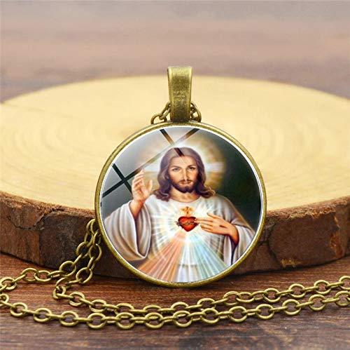 Selige Jungfrau Maria Mutter Von Baby Halskette Jesus Christus Christian Anhänger Katholischen Religiösen Glas Fliesen Halsketten Anhänger (Mutter Maria Kostüme)