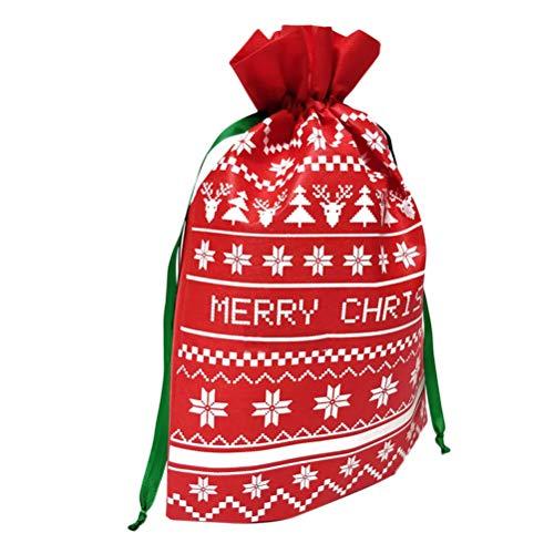 BESTOYARD 2 stücke Weihnachten Tragbare Süßigkeiten Taschen Kordelzug Handtasche Geschenkbeutel Home Party Dekorationen (Rot) - Papier-münzen-beutel