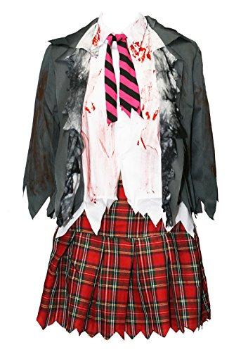Bslingerie® Damen Zombie Schulmädchen Kostüm Set (XL, Hemd und Rock ()