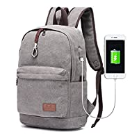 Travistar Lightweight School Backpack-Travel Daypack Canvas Laptop Backpack with USB Charging Port Fit 15inch Laptop