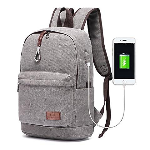 Travistar leichter Canvas Laptop Rucksack mit USB Ladeport Vintage Schule Rucksack Reise Daypack Fit 15 Zoll
