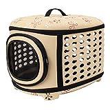 JEELINBORE Portador Bolsa de Transporte Cómodo Transportín Plegable para Mascotas Perros Gatos (Albaricoque, L)