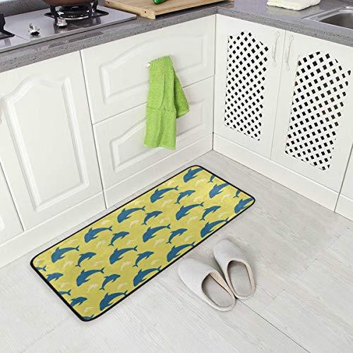 DXG1 Delfin-Teppich, nautische Küche, Anti-Ermüdungsmatte, bequem, rutschfest, für Eingangsbereich und Stehtische, Schlafzimmer, 50 x 99 cm, Badematte, Fußmatte, 50,8 x 99 cm, Gelb -