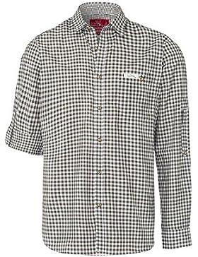Edelheiss Moser Trachten Trachtenhemd Langarm Schilfgrün Karo Robby 005116, Material Baumwolle, Liegekragen