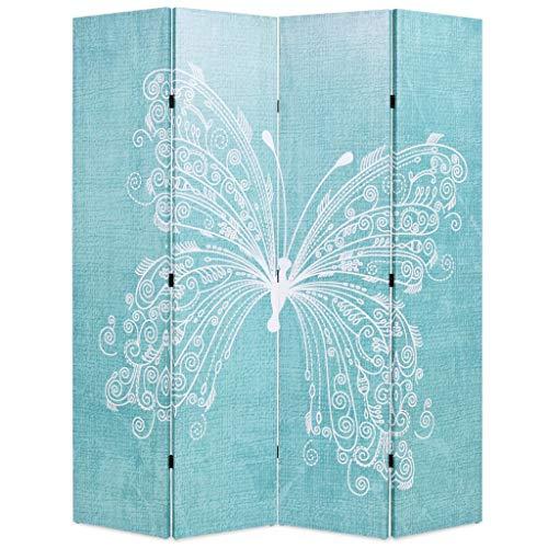 Festnight- Biombo Mariposa Divisor Plegable 160x180 cm Azul