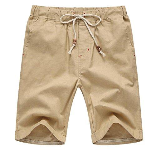 GreatestPAK Pants Leinen Baumwolle Shorts Männer Herren Sommer Solid Beach Casual Elastische Taille Klassische Passform Hosen Kurze Hosen,XX-Large,Khaki -