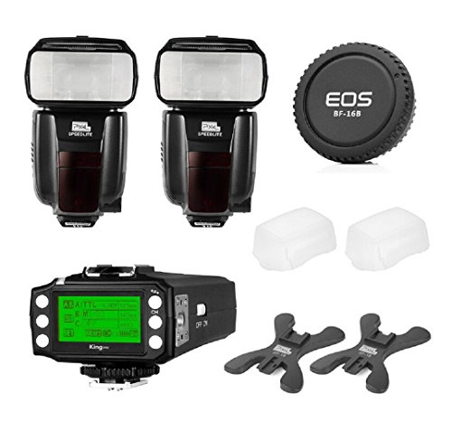 Pixel X800C PRO Flash Speedlite Kit for Canon DSLR - [2*X800C PRO ETTL Flash Speedlite]+[1*King PRO Flash Trigger Transceiver]+[1*Canon Rear Lens Cap] and Accessories