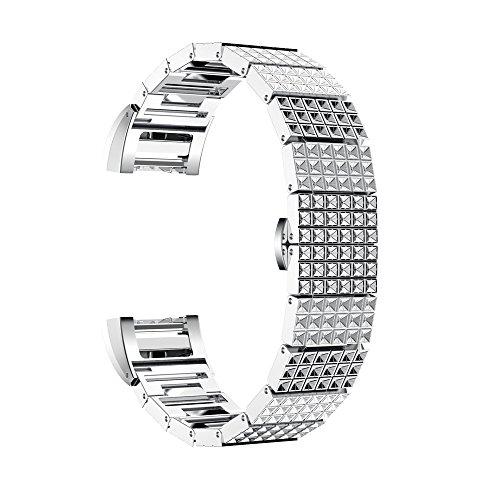 Cebbay Bracelet en acier inoxydable Bracelet de montre pour Fitbit Charge 2(non inclus Smart de suivi) M Silver