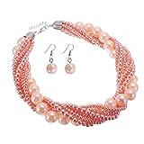 Jerollin Damen Kette Perlenkette Bead bib Choker Collier Collar Halskette Necklace Statement Ketten Ohrringen Ohrstecker Schmuck Set