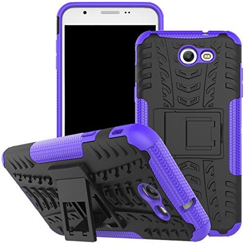 Galaxy J7V Fall, J7Prime Fall, J7perx Fall, J7Sky Pro Fall, viodolge [stoßfest] Hybrid Tough Rugged Dual Layer Schutzhülle Handy Schutzhülle mit Standfuß für Samsung Galaxy J72017, Violett Verizon Samsung Jet