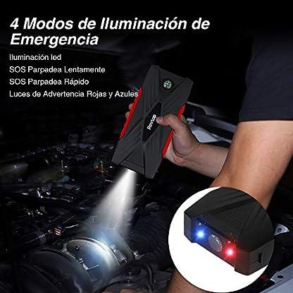 Rovtop Arrancador de Coches 600A 16500mAh – Jump Starter Arrancador Batería Coche Cargador de Batería de Coche Arranque (hasta 7, 5L Gasolina o 6L Diesel) con Puertos de Carga Dual USB, Linterna LED