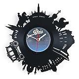 GRAVURZEILE Skyline Wien 2018 Wanduhr aus Vinyl Schallplattenuhr Upcycling Design-Uhr Wand-Deko Vintage-Uhr Wand-Dekoration Retro-Uhr Made in Germany