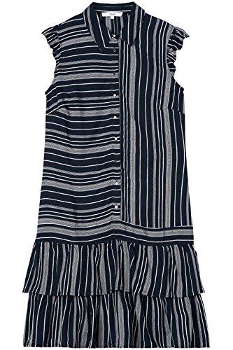 FIND Damen Kurzärmeliges Schößchen-Kleid Blau (Navy)