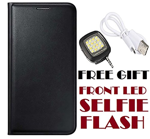 Panasonic Eluga I2 Flip Cover Case With Free Selfie Flash By Vinnx - Black