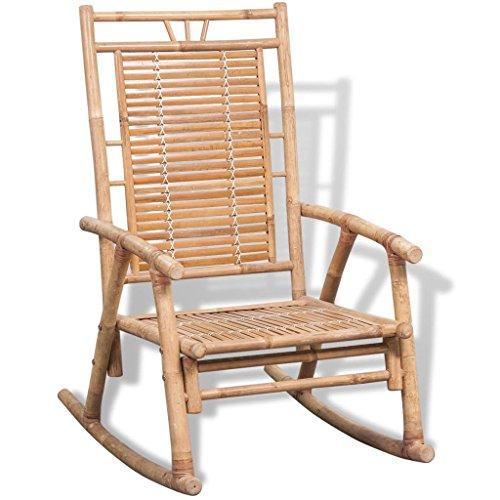 Festnight Chaise à Bascule en Bambou 66 x 86 x 105 cm de Jardin Rocking Chair