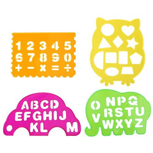 Zerodis Zeichnungslineale 4PCS Letters Schablone Alphabet Drawing Lineal Früherziehung Spielzeug Flexible Dekorative Schablone Multifunktionale Zeichnungsvorlage für Kinder -